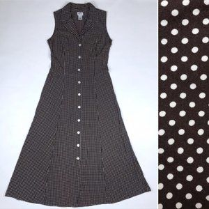 Vintage J.B.S. Polka Dot Maxi Dress Button Down